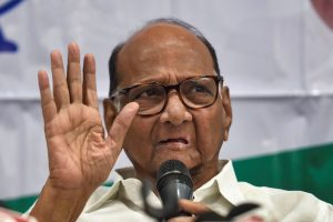 Mumbai: Nationalist Congress Party President Sharad Pawar addresses a press conference, in Mumbai, Wednesday, Sept. 25, 2019. The Enforcement Directorate (ED) has filed a money laundering case against  Sharad Pawar, his nephew Ajit Pawar and others in connection with the Maharashtra State Cooperative Bank (MSCB) scam case. (PTI Photo/Mitesh Bhuvad)(PTI9_25_2019_000122B)