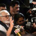 Mumbai: NCP leader Chaggan Bhujbal addresses the media as he leaves from Vidhan Bhawan in Mumbai, Monday, Nov. 25, 2019. (PTI Photo/Mitesh Bhuvad)(PTI11_25_2019_000137B)