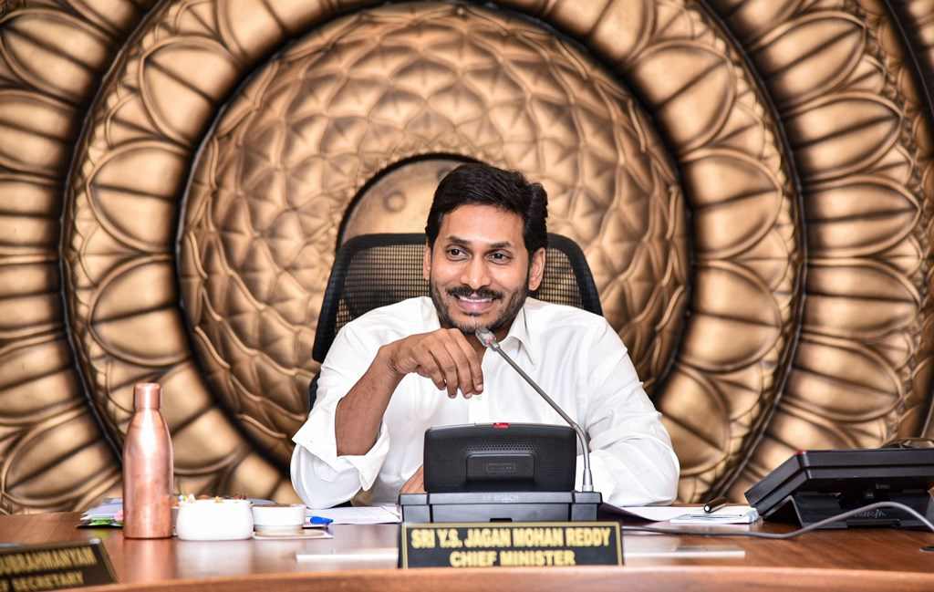 Amaravati: Andhra Pradesh Chief Minister YS Jagan Mohan Reddy in a meeting with his council of ministers at the Secretariat in Amaravati, Wednesday, Oct. 30, 2019. (PTI Photo) (PTI10_30_2019_000161B)