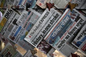 Newspapers, with headlines about Prime Minister Narendra Modi's decision to revoke special status for the disputed Kashmir region, are displayed for sale at a pavement in Ahmedabad, August 6, 2019. REUTERS/Amit DaveNewspapers, with headlines about Prime Minister Narendra Modi's decision to revoke special status for the disputed Kashmir region, are displayed for sale at a pavement in Ahmedabad, August 6, 2019. REUTERS/Amit Dave