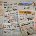 New Delhi: A collage of english newspapers fronted with headlines on Maharashtra government formation, in New Delhi, Sunday, Nov. 24, 2019. (PTI Photo/ Vijay Verma) (PTI11_24_2019_000043B)