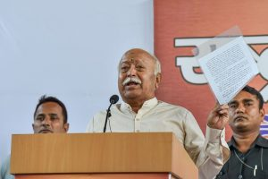 New Delhi: Rashtriya Swayamsevak Sangh (RSS) chief Mohan Bhagwat addresses after the Supreme Court pronounces its verdict on Ayodhya land case, in New Delhi, Saturday, Nov. 9, 2019. The apex court on Saturday cleared the way for the construction of a Ram Temple at the disputed site at Ayodhya, and directed the Centre to allot a 5-acre plot to the Sunni Waqf Board for building a mosque. (PTI Photo/Manvender Vashist) (PTI11_9_2019_000131B)(PTI11_9_2019_000135B)