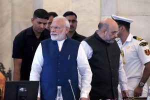 New Delhi: Prime Minister Narendra Modi and Home Minister Amit Shah during the '50th Conference of Governors and Lt Governors', at Rashtrapati Bhavan in New Delhi, Saturday, Nov. 23, 2019. (PTI Photo/Vijay Verma) (PTI11_23_2019_000035B)