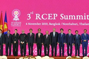 The Prime Minister, Shri Narendra Modi in a group photograph with other world leaders, at the 3rd RCEP Summit, in Bangkok, Thailand on November 04, 2019.