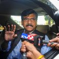 Mumbai: Senior Shiv Sena leader Sanjay Raut addresses the media, outside Matoshree in Mumbai, Saturday, Nov. 23, 2019. Raut said NCP leader Ajit Pawar had stabbed the Sena in the back by joining hands with the BJP to form the government in Maharashtra. (PTI Photo) (PTI11_23_2019_000052B)