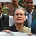 New Delhi: Congress President Sonia Gandhi leads a protest against Maharashtra government formation issue, at Parliament premises in New Delhi, Monday, Nov. 25, 2019. (PTI Photo/Shahbaz Khan) (PTI11_25_2019_000041B)