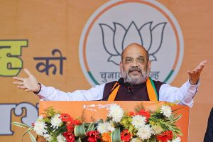 West Singhbhum: Union Home Minister Amit Shah addresses a public meeting ahead of Jharkhand Assembly elections, at Chakradharpur in West Singhbhum district, Monday, Dec. 2, 2019. (PTI Photo) (PTI12_2_2019_000188B)