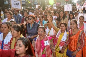 Dibrugarh: Members of All Assam Students Union along with local people stage a 'Gana Satyagrah protest against Citizenship Amendment Act (CAA), in Dibrugarh, Monday, Dec. 16, 2019. (PTI Photo)    (PTI12_16_2019_000146B)