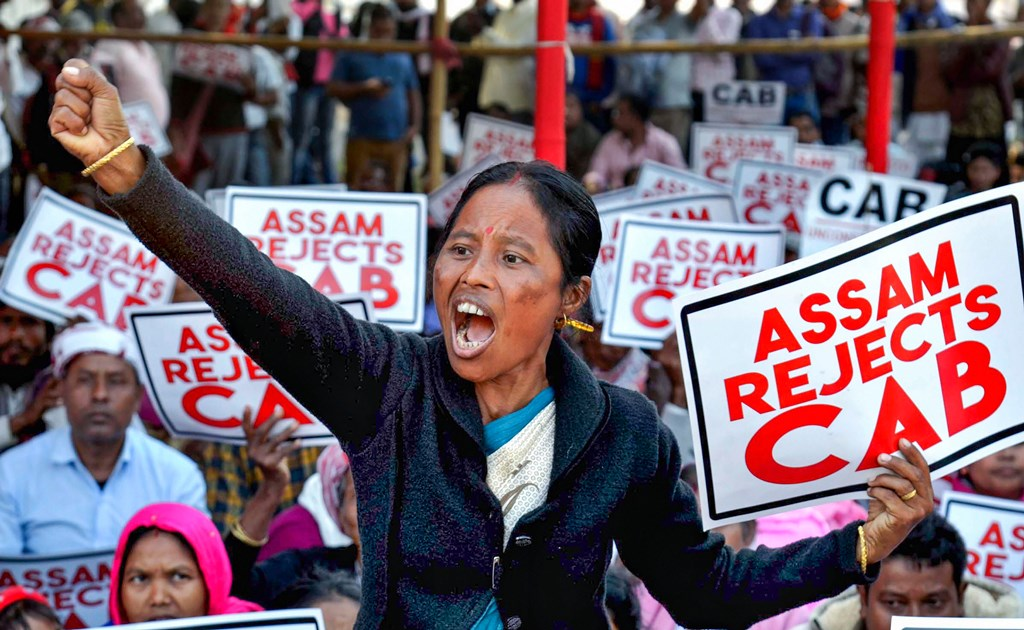 Guwahati: An activist of Krishak Mukti Sangram Samiti (KMSS) raises slogans during a protest against the Citizenship Amendment Bill (CAB), in Guwahati, Thursday, Dec. 5, 2019. (PTI Photo)(PTI12_5_2019_000057B)