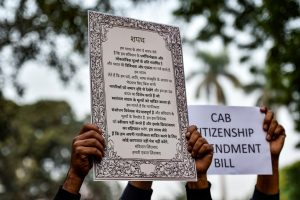 New Delhi: People from various organisations stage a protest against Citizenship Amendment Bill (CAB) at Jantar Mantar, in New Delhi, Tuesday, Dec. 10, 2019. The Bill seeks to grant Indian citizenship to non-Muslim refugees, who escaped religious persecution in Pakistan, Bangladesh and Afghanistan. The legislation was passed in the Lower House of the Parliament. (PTI Photo/Ravi Choudhary)(PTI12_10_2019_000213B)