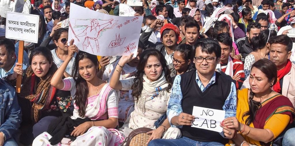Guwahati: Assamese film actors and actresses  take part in a hunger strike organised by All Assam Students Union (AASU) in protest against the passing of Citizenship Amendment Bill, in Guwhati, Friday, Dec. 13, 2019. (PTI Photo)(PTI12_13_2019_000311B)