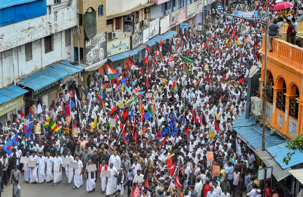 Chennai: DMK president MK Stalin along with leaders of allies, including senior Congress leader P Chidambaram, MDMK chief Vaiko and state unit leaders of the Left parties take part in a protest rally against the Citizenship (Amendment) Act (CAA), in Chennai, Monday, Dec. 23, 2019. (PTI Photo/R Senthil Kumar)(PTI12_23_2019_000072B)