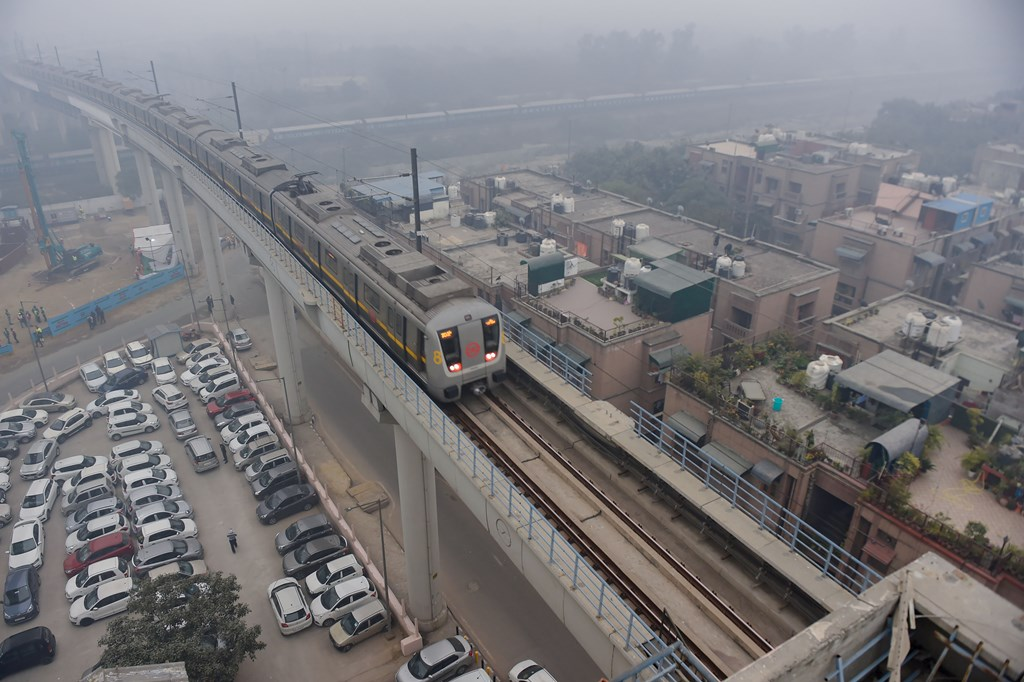 New Delhi: A metro train runs on a track in New Delhi, Monday, Dec. 30, 2019. Construction of Delhi Metro's Phase-IV began with a ground-breaking ceremony at Haider Badli Mor as piling work began for construction of 10 stations on Janakpuri-R K Ashram corridor. (PTI Photo/Atul Yadav)(PTI12_30_2019_000155B)