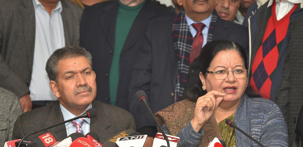 New Delhi: Jamia Millia Islamia Vice-Chancellor Najma Akhtar addresses a press conference regarding police action against students yesterday at the university campus, in New Delhi, Monday, Dec. 16, 2019. Akhtar asserted that the varsity will not tolerate police presence on campus and demanded a high-level inquiry into the crackdown on university students. (PTI Photo/ Kamal Kishore)(PTI12_16_2019_000082B)