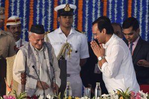 Mumbai: NCP leader Ajit Pawar greets Maharashtra governor Bhagat Singh Koshyari during the swearing in ceremony for State cabinet expansion at Vidhan Bhavan in Mumbai, Monday, Dec. 30, 2019. Pawar took oath as the Deputy of Maharashtra Chief Minister Uddhav Thackeray today. (PTI Photo/Mitesh Bhuvad)(PTI12_30_2019_000097B)