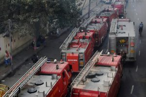 New Delhi: Fire tenders on their way to a factory at Rani Jhansi Road, where a major fire broke out, in New Delhi, Sunday morning, Dec. 8, 2019. Atleast 35 people were killed and several others injured in the mishap. (PTI Photo) (PTI12_8_2019_000011B)