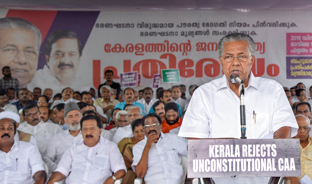 Thiruvananthapuram: Kerala Chief Minister Pinarayi Vijayan addresses during a protest against the amended Citizenship Act at the Martyr's column, in Thiruvananthapuram, Monday, Dec. 16, 2019. (PTI Photo)(PTI12_16_2019_000155B)