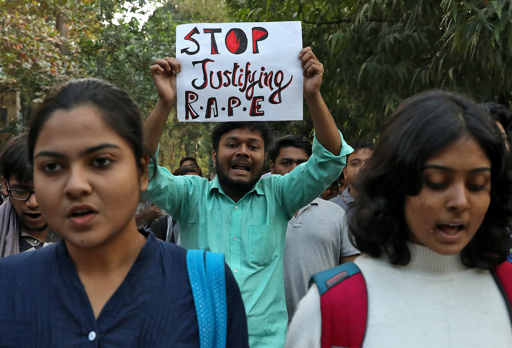 Students shout slogans during a protest against the alleged rape and murder of a 27-year-old woman, in Kolkata, India, December 2, 2019. REUTERS/Rupak De Chowdhuri