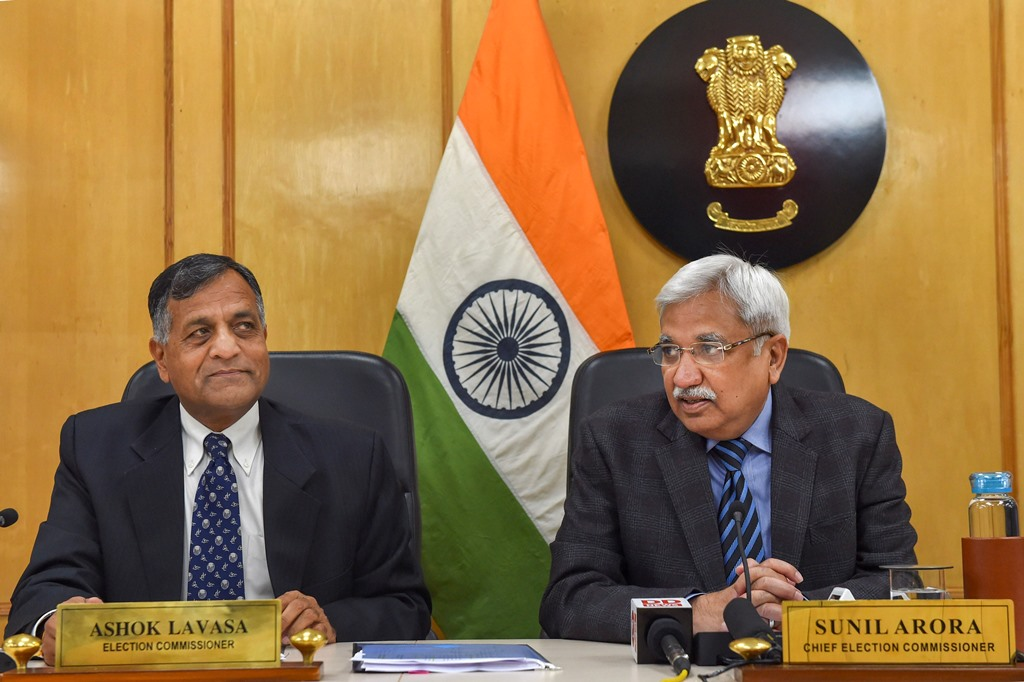 New Delhi: Chief Election Commissioner Sunil Arora along with Election Commissioner Ashok Lavasa (L) addresses a press conference to announce the poll schedule for the forthcoming Delhi Assembly elections, in New Delhi, Monday, Jan. 6, 2020. (PTI Photo/Subhav Shukla)  (PTI1_6_2020_000082B)