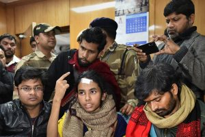 New Delhi: JNU Students' Union president Aishe Ghosh during her address to media personnel after a meeting with HRD Secretrary Amit Khare, in New Delhi, Friday, Jan. 10, 2020. (PTI Photo/Arun Sharma)(PTI1_10_2020_000111B)