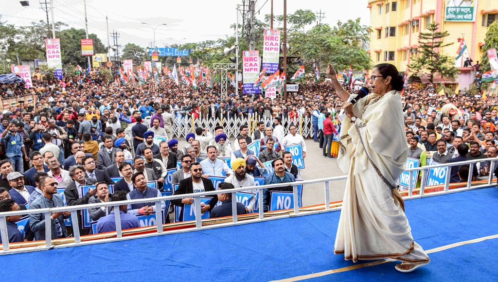 Siliguri: West Bengal Chief Minister and Trinamool Congress supremo Mamata Banerjee addresses a protest rally against CAA, NRC and NPR, in Siliguri, Friday, Jan. 3, 2020. (PTI Photo) (PTI1 3 2020 000148B)