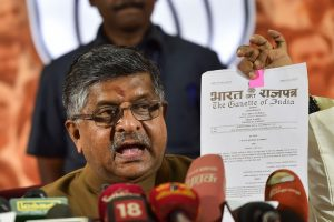 Chennai: Union Law and IT Minister Ravi Shankar Prasad addresses a press conference on CAA and NRC issue at state BJP office, in Chennai, Thursday, Jan. 9 ,2020. (PTI Photo/R Senthil Kumar)  (PTI1_9_2020_000233B)