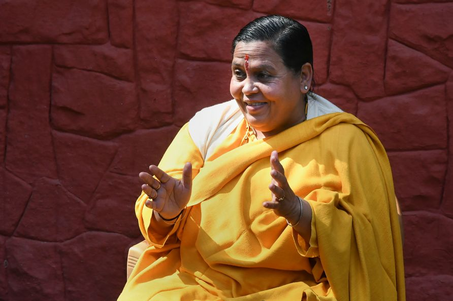 Bhopal: Former Union minister and senior BJP leader Uma Bharti reacts as she addresses a press conference in connection with the formation of a Ram Janmabhoomi trust, in Bhopal, Wednesday, Feb. 5, 2020. (PTI Photo)