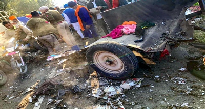 Tarn Taran: Police personnel investigate at the site of an explosion which occurred during a 'Nagar Kirtan' religious procession near Pahu village in Tarn Taran district, Saturday, Feb. 8, 2020. Two people were killed and 11 injured in a firecracker explosion. (PTI Photo)(PTI2_8_2020_000274B) *** Local Caption ***