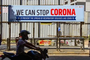 Mumbai: A billboard set up by BMC to raise awareness on the novel coronavirus (COVID-19) outbreak, at a bus stop in Mumbai, Monday, March 16, 2020. The coronavirus outbreak, which originated in Wuhan, China, has claimed over 6,000 lives and has infected close to 160,000 people world over. (PTI Photo)(PTI16-03-2020_000116B)