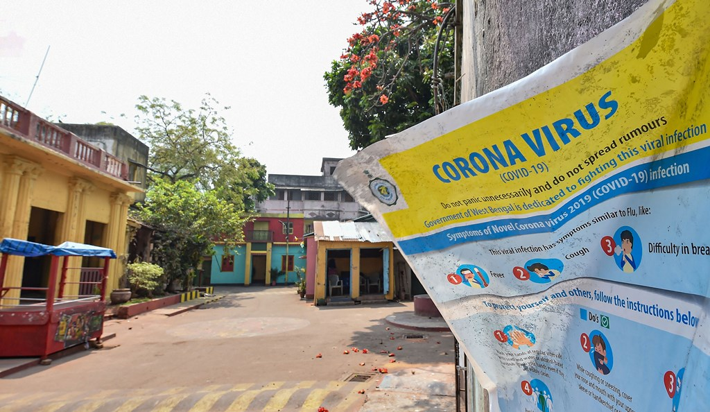 Kolkata: A notice put up on the wall of  studio para after it was closed in wake of the deadly coronavirus pandemic, in Kolkata, Wednesday, March 18, 2020. (PTI Photo/Swapan Mahapatra)(PTI18-03-2020_000156B)