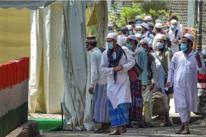 New Delhi: People who came for 'Jamat', a religious gathering at Nizamuddin Mosque, being taken to LNJP hospital for COVID-19 test, after several people showed symptoms of coronavirus, during a nationwide lockdown, in New Delhi, Tuesday, March 31, 2020. (PTI Photo/Vijay Verma)(PTI31-03-2020 000142B)