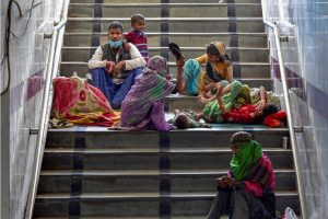 New Delhi: Homeless people relax in a subway near Nizamuddin Mosque during a nationwide lockdown in the wake of coronavirus pandemic, in New Delhi, Tuesday, March 31,2020. (PTI Photo/Vijay Verma)(PTI31-03-2020 000143B)