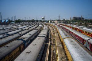 Chennai: Trains parked at a yard during the nationwide lockdown, in the wake of coronavirus pandemic, in Chennai, Friday, April 3, 2020. (PTI Photo/R Senthil Kumar)(PTI03-04-2020_000255B)