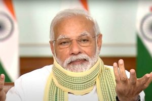 **EDS: VIDEO GRAB** New Delhi: Prime Minister Narendra Modi interacts with Sarpanches from across the country via video conferencing, amid ongoing nationwide COVID-19 lockdown, in New Delhi, Friday, April 24, 2020. (DD/PTI Photo) (PTI24-04-2020 000019B)
