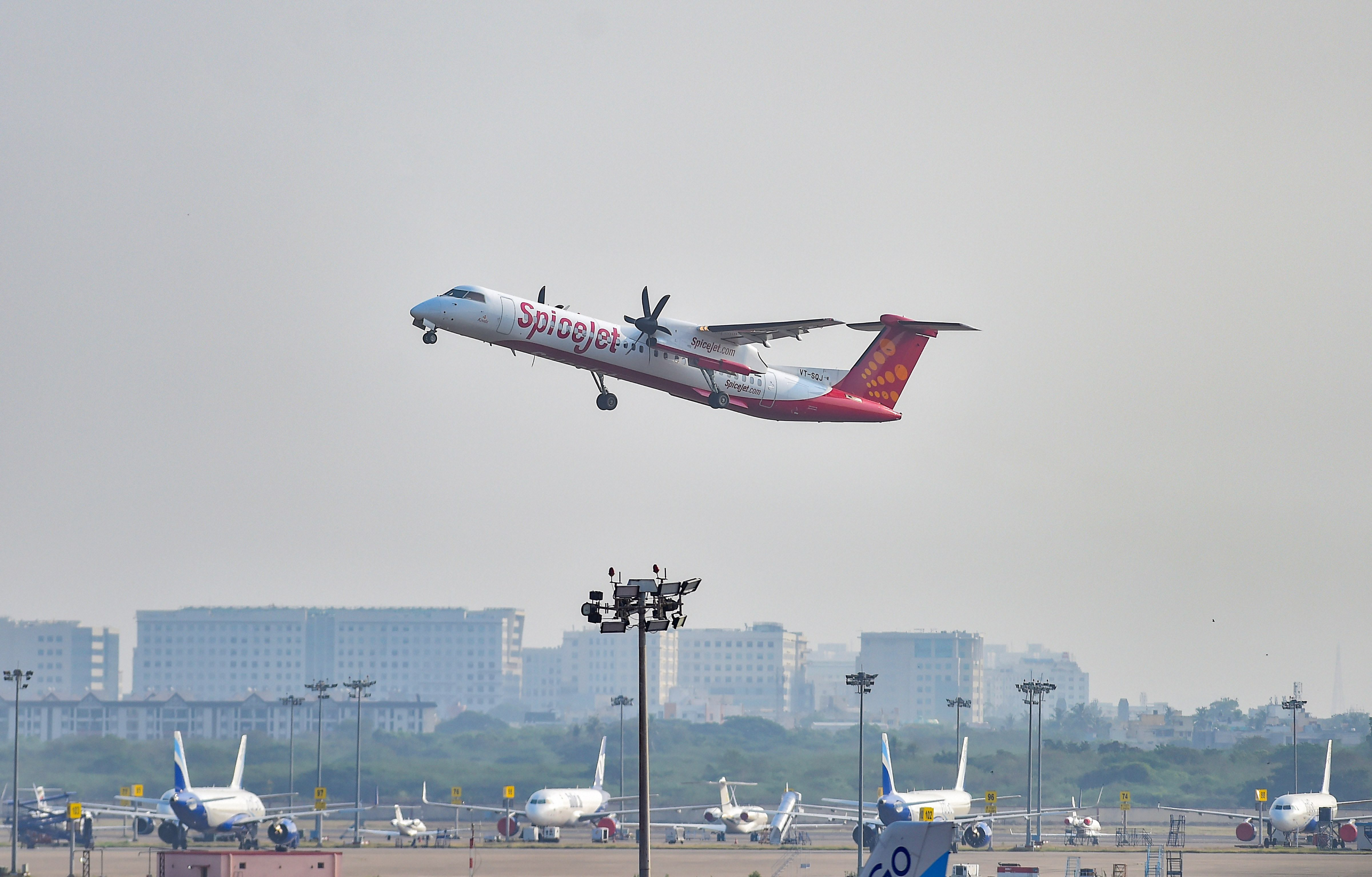 Chennai: A SpiceJet plane takes-off from Chennai airport for domestic travel, after flights resumed during the ongoing nationwide lockdown, in Chennai, Monday, May 25, 2020. All scheduled commercial passenger flights were suspended since March 25 when the government imposed a nationwide lockdown to curb the coronavirus pandemic. (PTI Photo/R Senthil Kumar)(PTI25-05-2020_000114B)