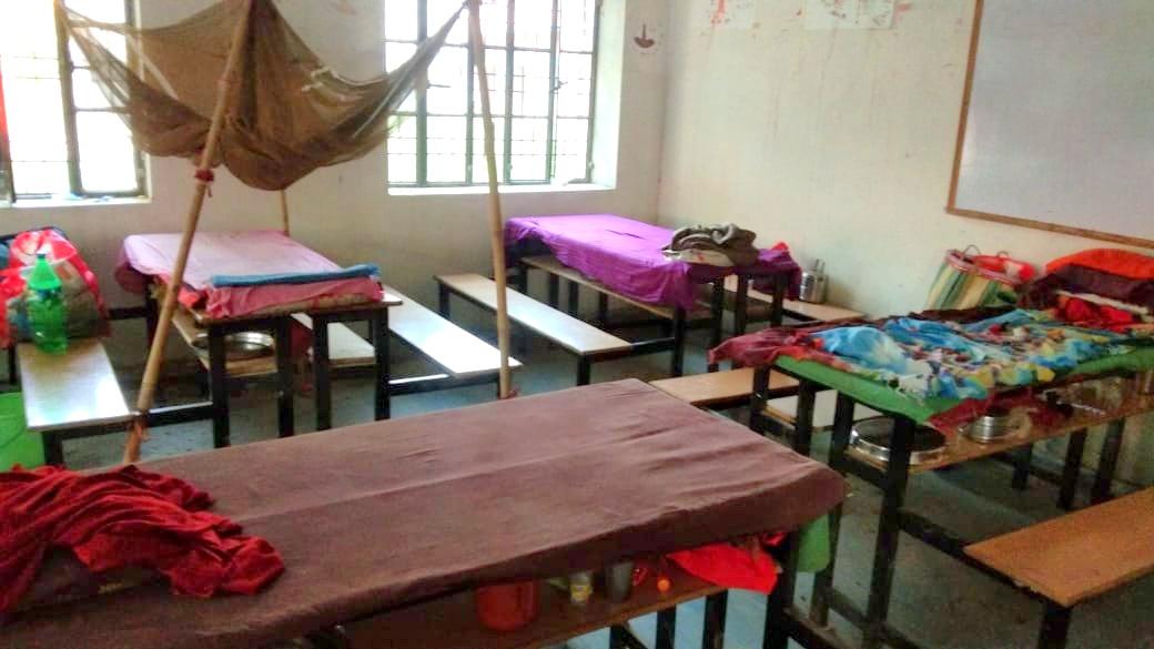 बेगूसराय जिले के एक स्कूल में बना क्वारंटीन सेंटर.