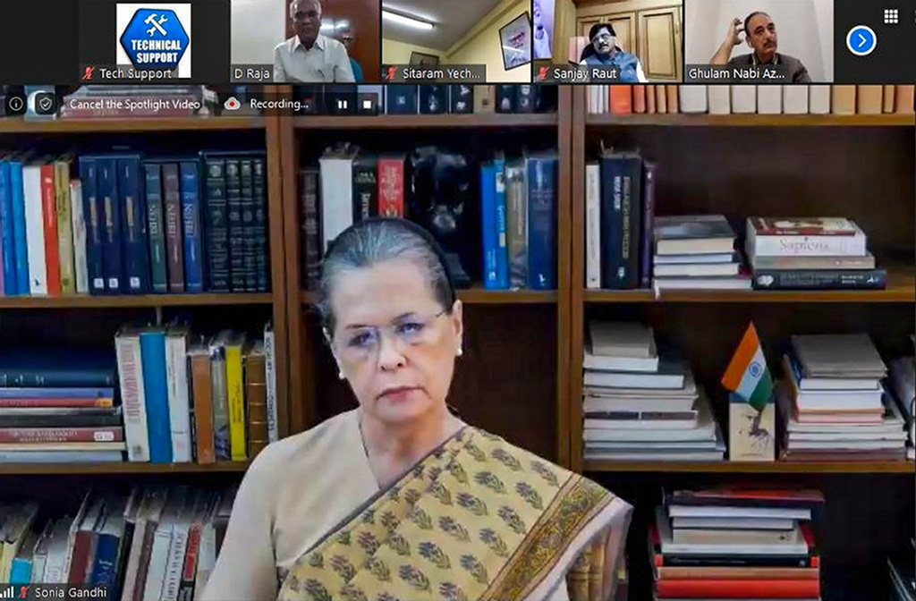 **EDS: VIDEO GRAB** New Delhi: Congress chief Sonia Gandhi chairs a meeting with leaders of opposition parties via video conferencing, in New Delhi, Friday, May 2020. Twenty-two opposition parties urged the Centre to immediately declare the devastation caused by Cyclone Amphan in Odisha and West Bengal as a national calamity and called for substantially helping the states in facing the impact of the disaster. (PTI Photo)