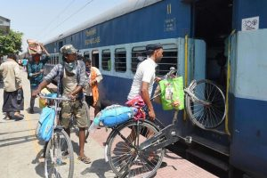 Patna: Migrants load their bicycles in a train to reach their native place, during a nationwide lockdown in the wake of coronavirus pandemic, in Patna, Saturday, May 16, 2020. (PTI Photo)(PTI16-05-2020_000089B)