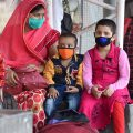 Kolkata: A woman along with her children waits for a means of transport outside the Howrah Railway Station, on her arrival from New Delhi by a special train, amid ongoing COVID-19 lockdown in Kolkata, Thursday, May 14, 2020. (PTI Photo/Swapan Mahapatra) (PTI14-05-2020 000164B)
