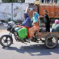 Amritsar: Women are seen riding on a modified cart with a man and child sitting behind them on the eve of Mother's day, during the ongoing COVID-19 nationwide lockdown, in Amritsar, Saturday, May 09, 2020. (PTI Photo)(PTI09-05-2020_000134B)