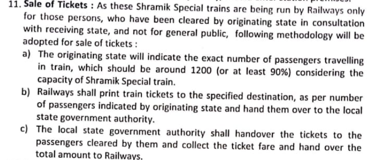 Fare for Shramik Trains