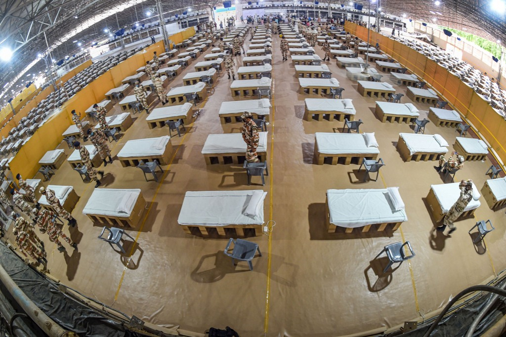 New Delhi: A view of a newly created COVID-19 care facility with over 10,000 beds at Radha Soami Beas, in New Delhi, Saturday, June 27, 2020. A team of over 1,000 doctors, nurses and paramedic staff of the ITBP and other paramilitary forces have been earmarked to work at the facility. (PTI Photo/Kamal Kishore)(PTI27-06-2020 000266B)