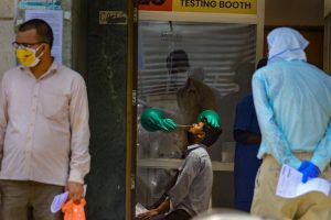 New Delhi: Suspected COVID-19 patients wait to be examined by medics at a government hospital, during the ongoing lockdown, in New Delhi, Tuesday, June 9, 2020. (PTI Photo/Kamal Kishore)  (PTI09-06-2020_000090B)