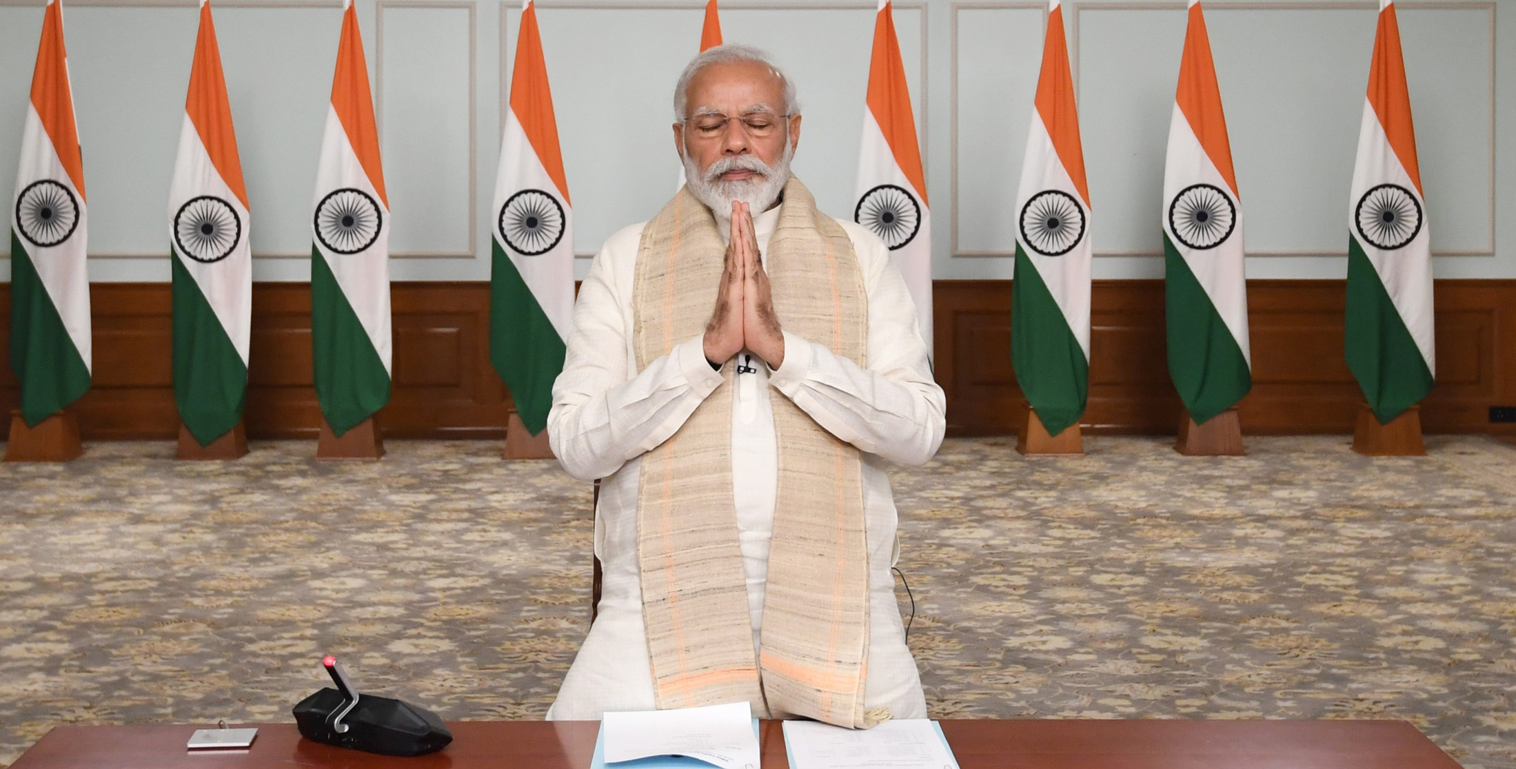 The Prime Minister, Shri Narendra Modi paying tributes to the Martyrs during the Virtual Conference with the Chief Ministers, in New Delhi on June 17, 2020.