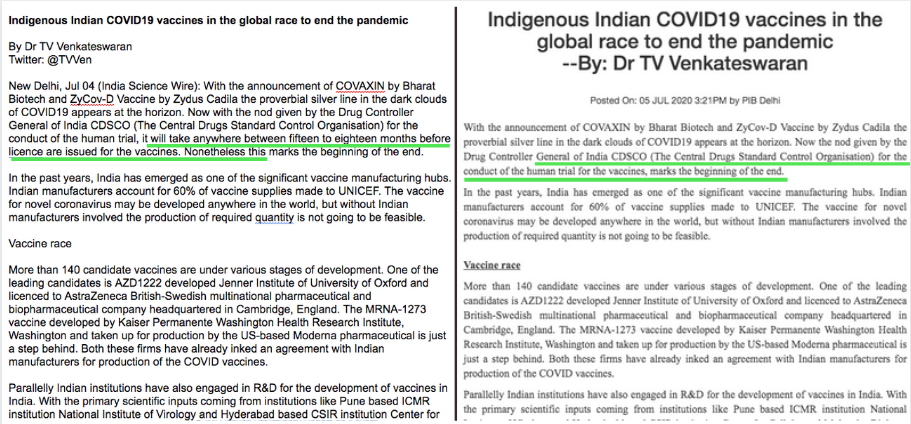 To the left, the copy released by India Science Wire of the statement by Dr TV Venkateswaran, and to the right, a screenshot of the same statement in the PIB's official website. The edited line is highlighted in green.