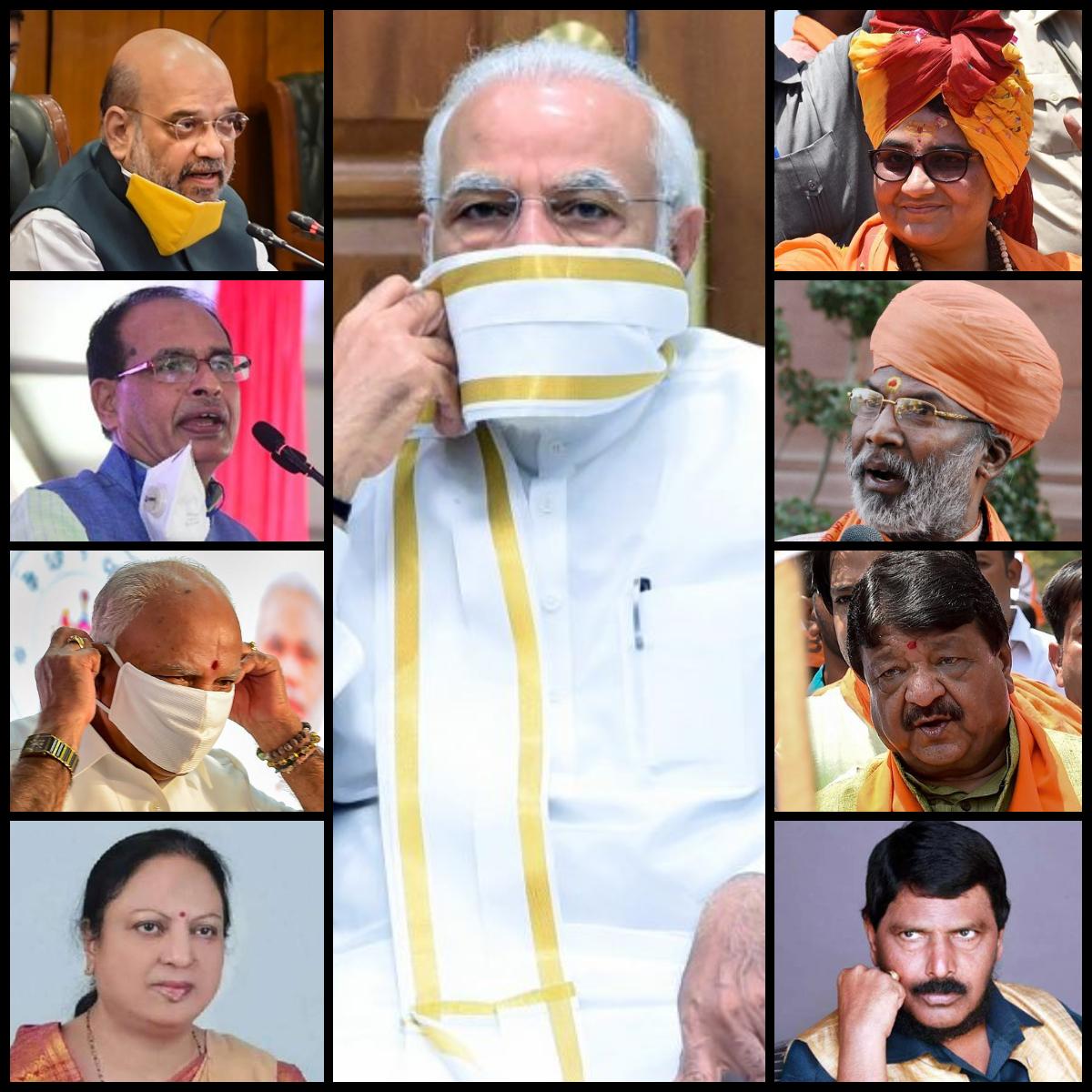 प्रधानमंत्री नरेंद्र मोदी, भाजपा के कोरोना संक्रमित नेता (बाएं) और कोरोना पर बयान देने वाले पार्टी के विभिन्न नेता (दाएं). (फोटो: पीटीआई/फेसबुक/पीआईबी)