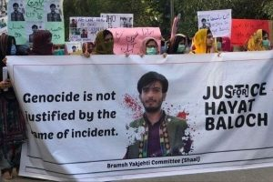 हयात बलोच की हत्या के ख़िलाफ़ पाकिस्तान में हुआ एक प्रदर्शन. (फोटो साभार: ट्विटर)