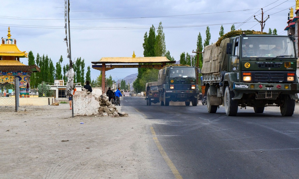 Leh: An army convoy moves towards LAC, amid India-China border dispute in eastern Ladakh, in Leh, Sunday, July 12, 2020. (PTI Photo)