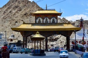 Leh: Vehicles pass through the Leh Gate in Leh, Ladakh, Sunday, July 12, 2020. (PTI Photo) (PTI12-07-2020 000194B)