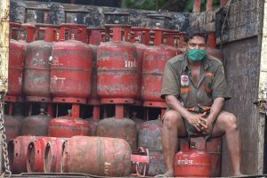 Kolkata: A worker waits to deliver LPG cylinders, during Unlock 2.0, in Kolkata, Saturday, July 18, 2020. (PTI Photo/Swapan Mahapatra)